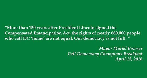 Mayor Bowser Quote on Statehood